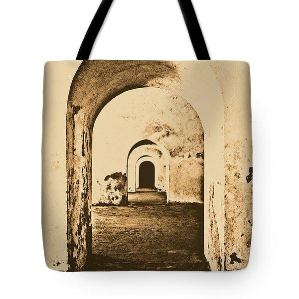El Morro Fort Barracks Arched Doorways Vertical San Juan Puerto Rico Prints Rustic Tote Bag by Shawn O'Brien