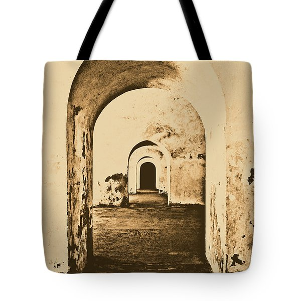 El Morro Fort Barracks Arched Doorways Vertical San Juan Puerto Rico Prints Rustic Tote Bag by Shawn O'Brien