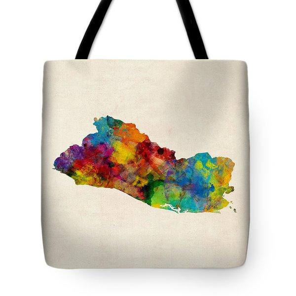 El Salvador Watercolor Map Tote Bag by Michael Tompsett