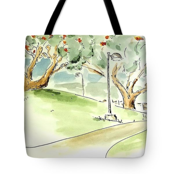 Tote Bag featuring the painting El Toro Park by Maria Langgle