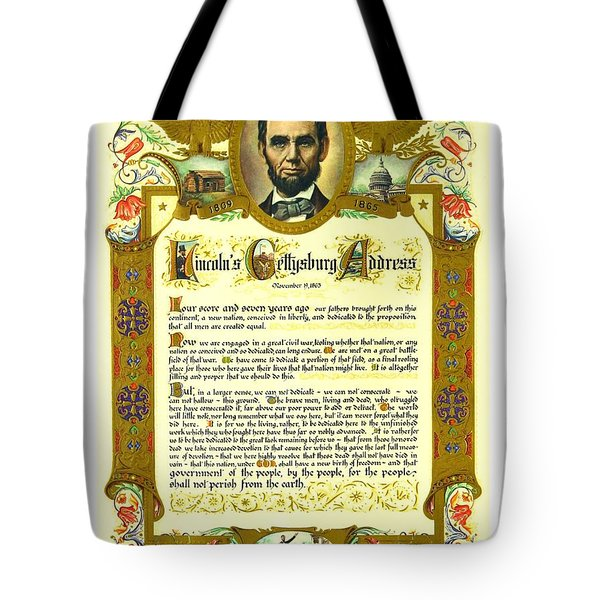 Tote Bag featuring the painting Elaborate Victorian Gettysburg Address Illuminated Manuscript With Lincoln Portrait by Peter Gumaer Ogden