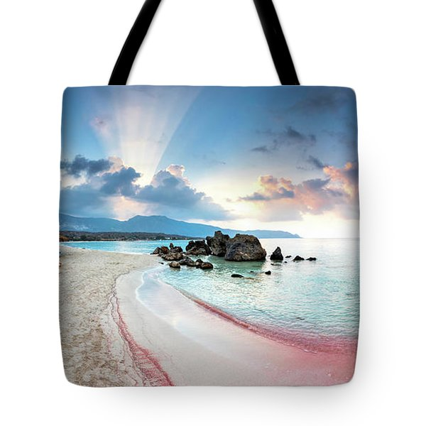 Elafonissi Beach Tote Bag by Evgeni Dinev