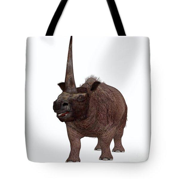Elasmotherium On White Tote Bag