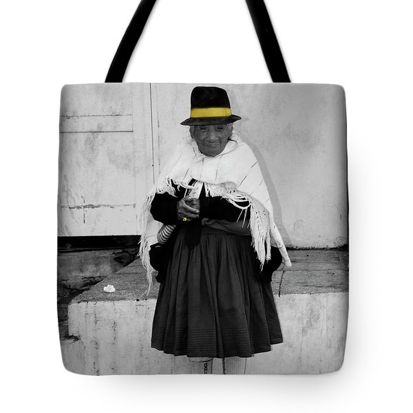 Elderly Beggar In Biblian Tote Bag by Al Bourassa