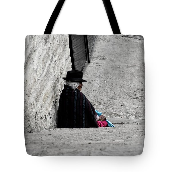 Elderly Beggar In Chordeleg Tote Bag by Al Bourassa