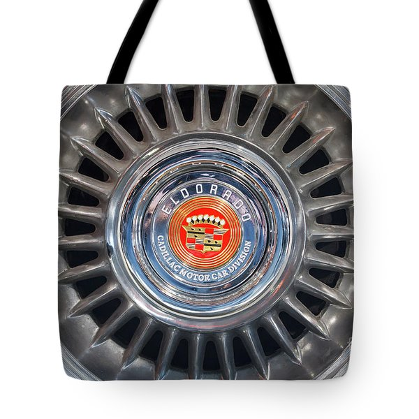 Tote Bag featuring the photograph Eldorado Hubcap by Dennis Hedberg
