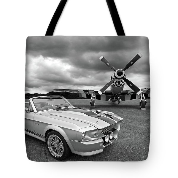Eleanor Mustang With P51 Black And White Tote Bag