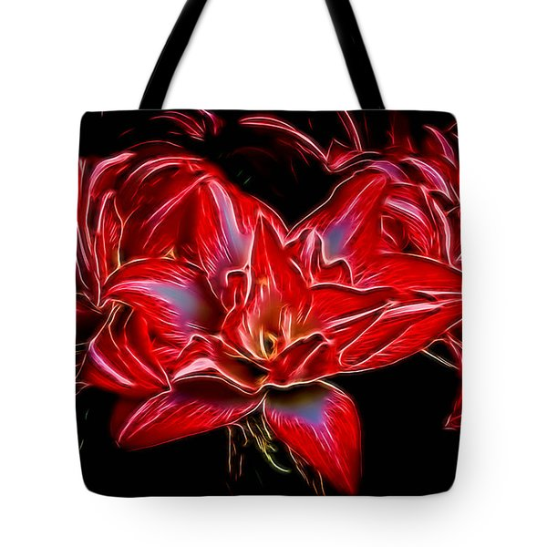 Electric Amaryillis Tote Bag