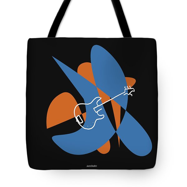 Electric Bass In Blue Tote Bag