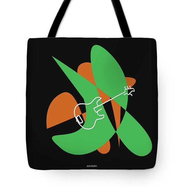 Electric Bass In Green Tote Bag
