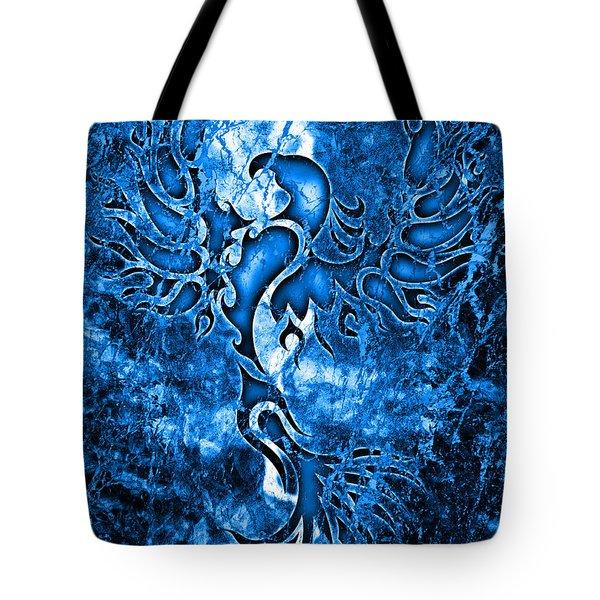Electric Blue Phoenix Tote Bag by Robert Ball