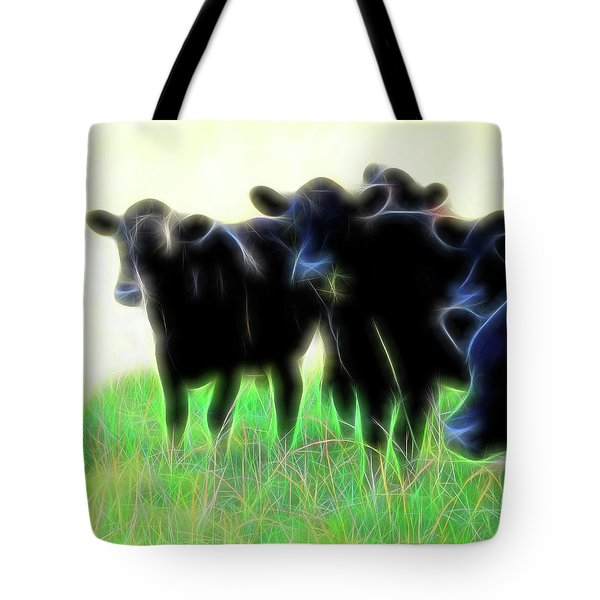 Tote Bag featuring the photograph Electric Cows by Ann Powell