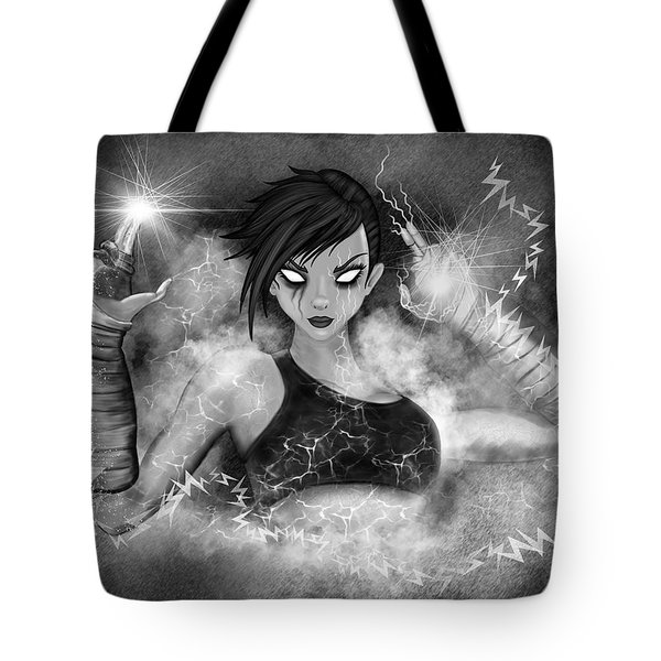 Electric Glitch - Black And White Fantasy Art Tote Bag