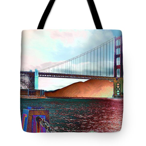 Electric Golden Gate Blue Tote Bag