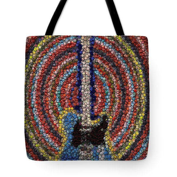 Tote Bag featuring the mixed media Electric Guitar Bottle Cap Mosaic by Paul Van Scott