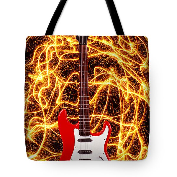 Electric Guitar With Sparks Tote Bag by Garry Gay