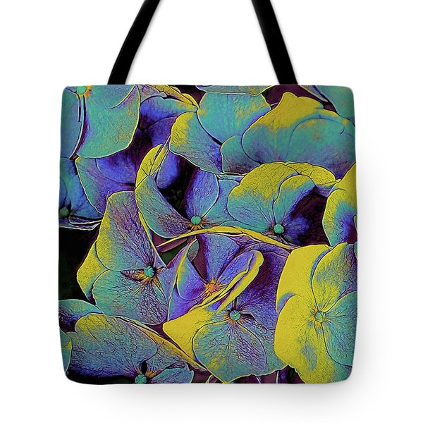 Tote Bag featuring the mixed media Electric Hydrangea by Susan Maxwell Schmidt