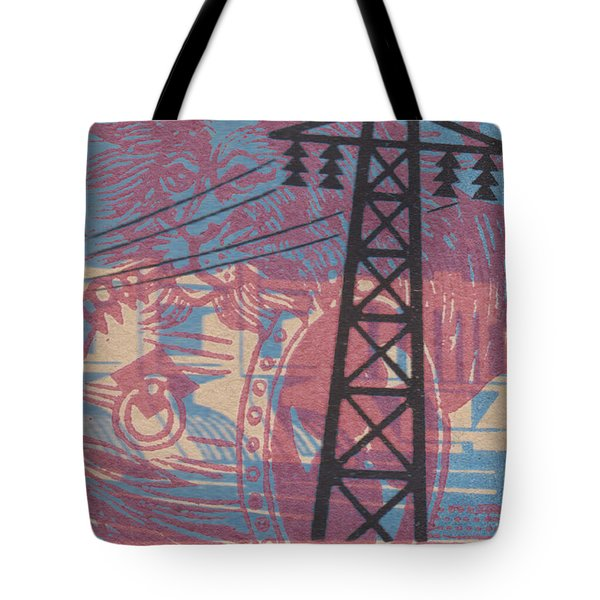 Tote Bag featuring the digital art Electric Lion Barrel by Nop Briex