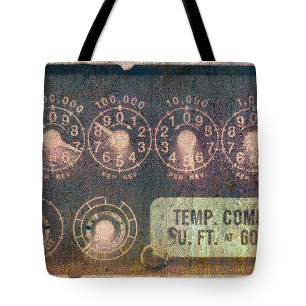 Tote Bag featuring the photograph Electric Meter Macro Industrial Art by Suzanne Powers
