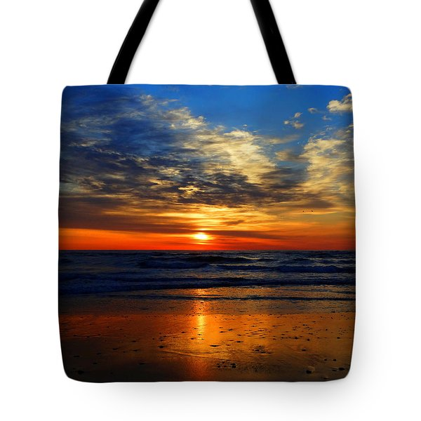 Electric Golden Ocean Sunrise Tote Bag by Dianne Cowen