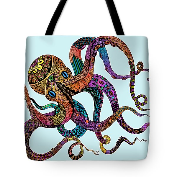 Electric Octopus - Customizable Background Tote Bag by Tammy Wetzel