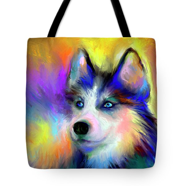 Electric Siberian Husky Dog Painting Tote Bag
