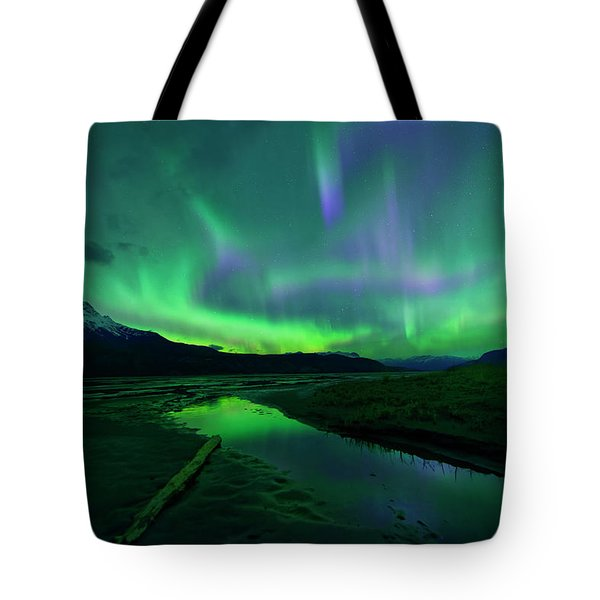 Electric Skies Over Jasper National Park Tote Bag by Dan Jurak