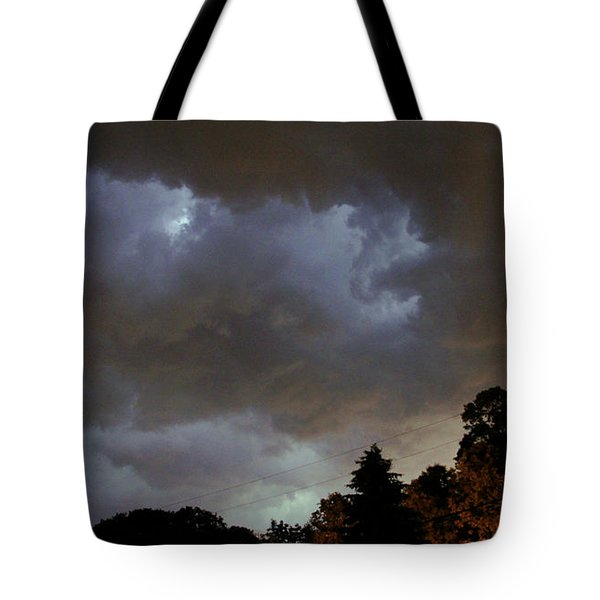 Electric Sky Of Faces Tote Bag