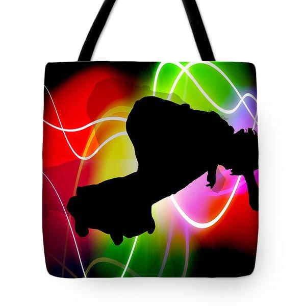 Electric Spectrum Skateboarder Tote Bag by Elaine Plesser