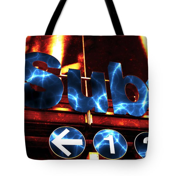 Electric Subway Tote Bag by John Rizzuto