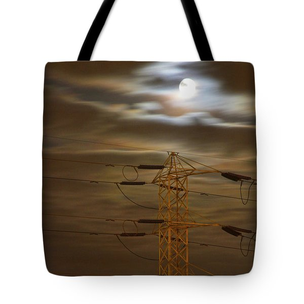 Electric Tower Under Supermoon Tote Bag