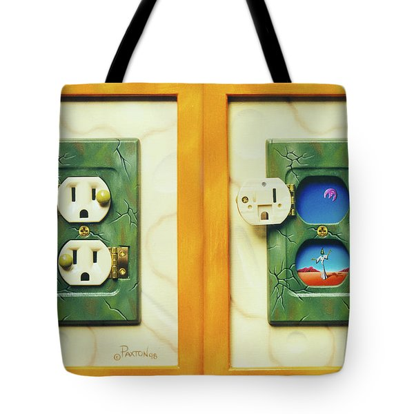 Electric View Miniature Shown Closed And Open Tote Bag