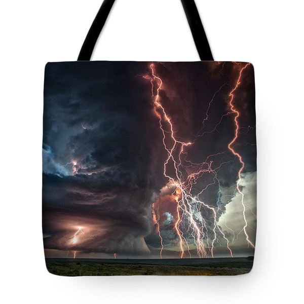 Electrical Storm Tote Bag by James Menzies