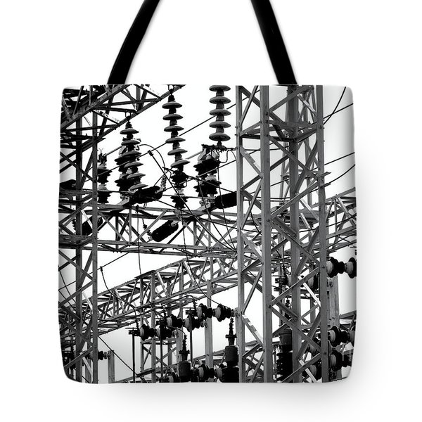 Tote Bag featuring the photograph Electrical Substation With Large Insulators by Yali Shi