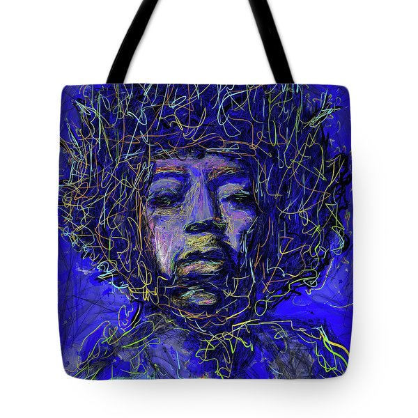 Tote Bag featuring the mixed media Electrifying Hendrix by Eduardo Tavares