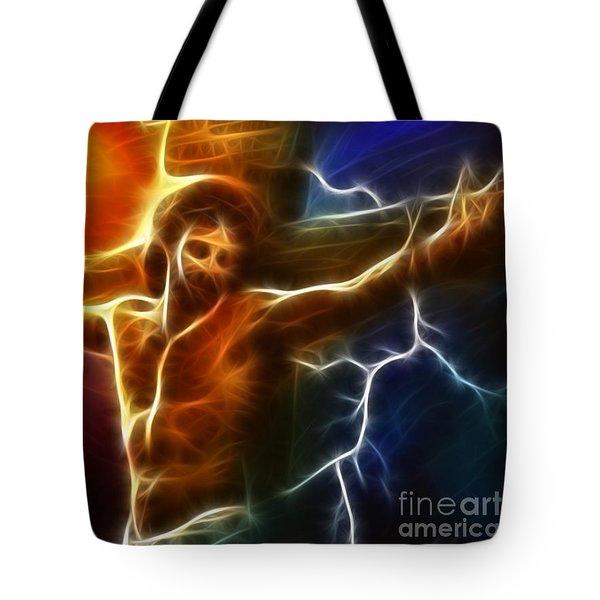 Electrifying Jesus Crucifixion Tote Bag by Pamela Johnson