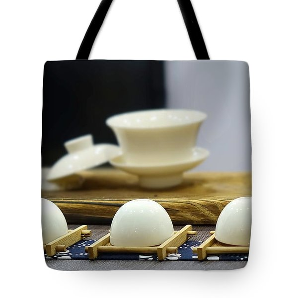 Elegant Chinese Tea Set Tote Bag