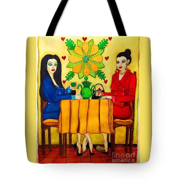 Tote Bag featuring the painting Elegant Ladies In A Coffee-shop by Don Pedro De Gracia