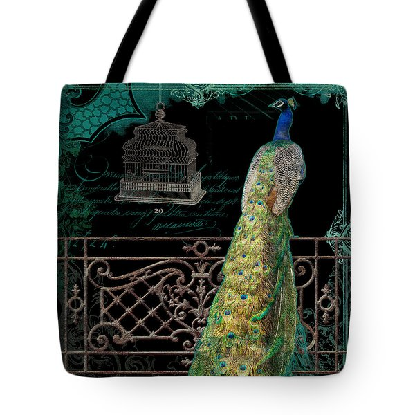 Elegant Peacock Iron Fence W Vintage Scrolls 4 Tote Bag by Audrey Jeanne Roberts