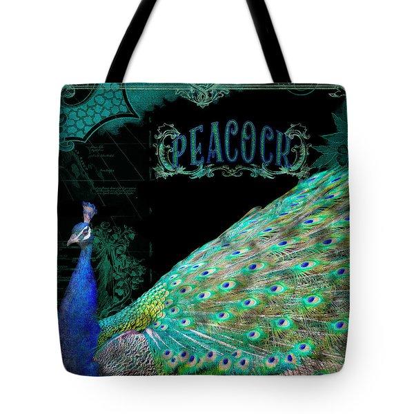 Elegant Peacock W Vintage Scrolls Typography 4 Tote Bag