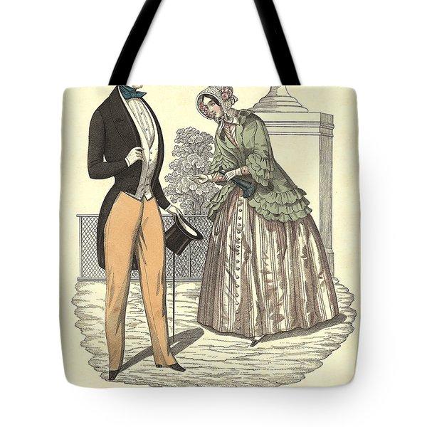 Elegant Vintage Biedermeier Fashion Tote Bag
