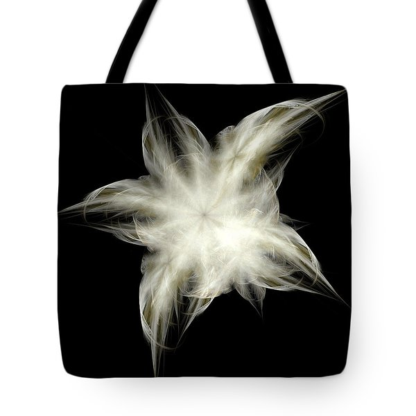 Tote Bag featuring the digital art Elegant White Feathers by Richard Ortolano