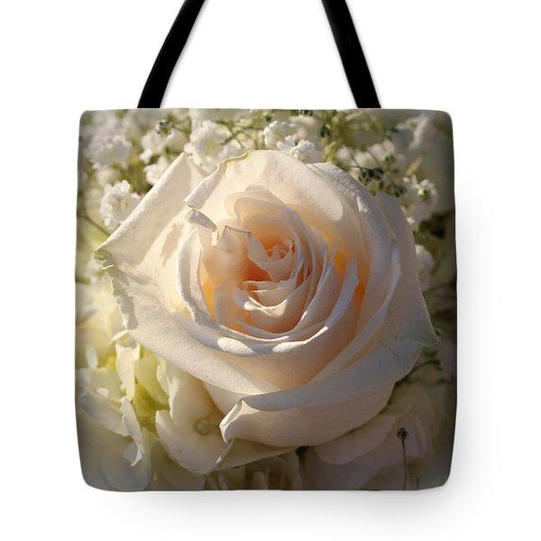 Elegant White Roses Tote Bag by Cynthia Guinn