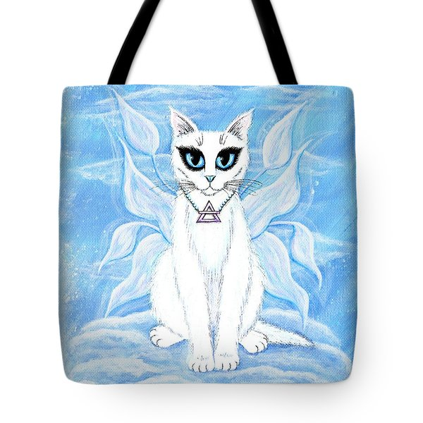 Tote Bag featuring the painting Elemental Air Fairy Cat by Carrie Hawks