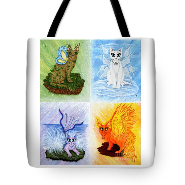 Tote Bag featuring the painting Elemental Cats by Carrie Hawks