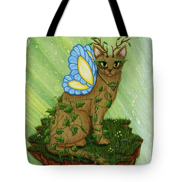 Tote Bag featuring the painting Elemental Earth Fairy Cat by Carrie Hawks