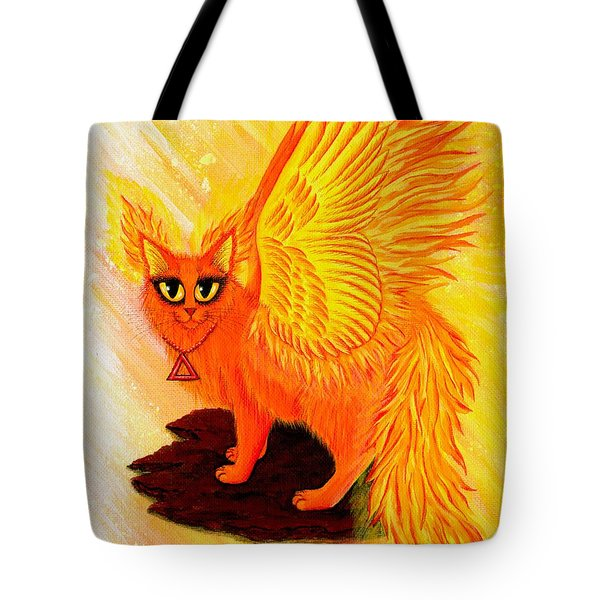 Elemental Fire Fairy Cat Tote Bag
