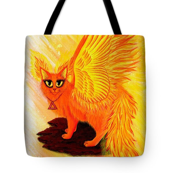 Tote Bag featuring the painting Elemental Fire Fairy Cat by Carrie Hawks
