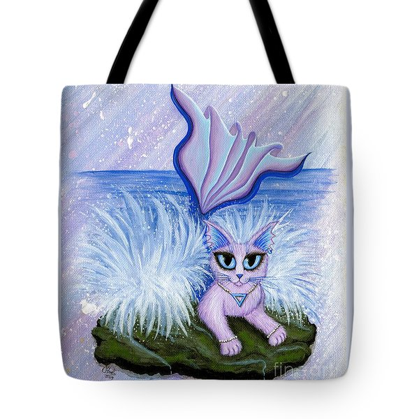 Tote Bag featuring the painting Elemental Water Mermaid Cat by Carrie Hawks