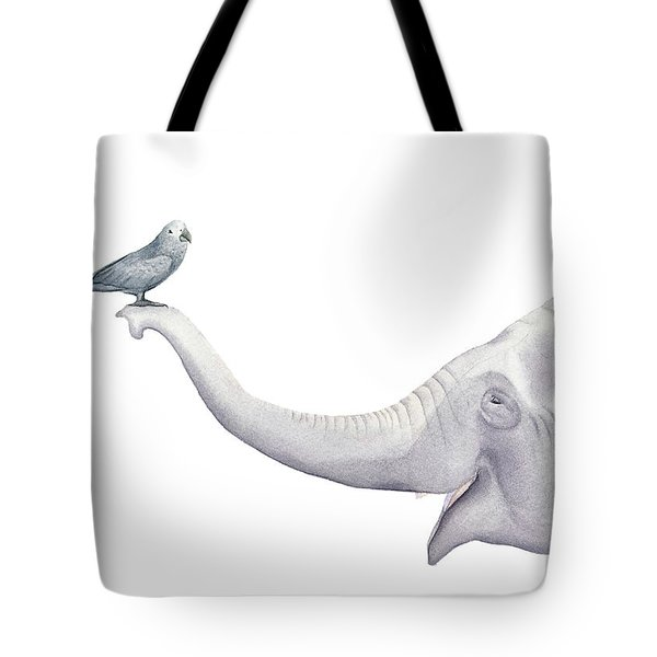 Elephant And Bird Watercolor Tote Bag